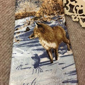 RED FOX ANIMAL TIE PHESANT TRACKS TIE